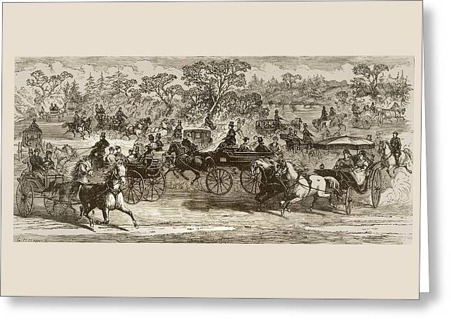 Carriages In Central Park New York In Greeting Card by Vintage Design Pics