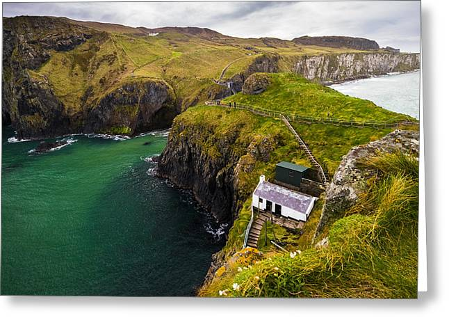 Carrick-a-rede Greeting Card by Ryan Moore