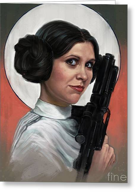 Carrie Fisher Greeting Card by Andre Koekemoer