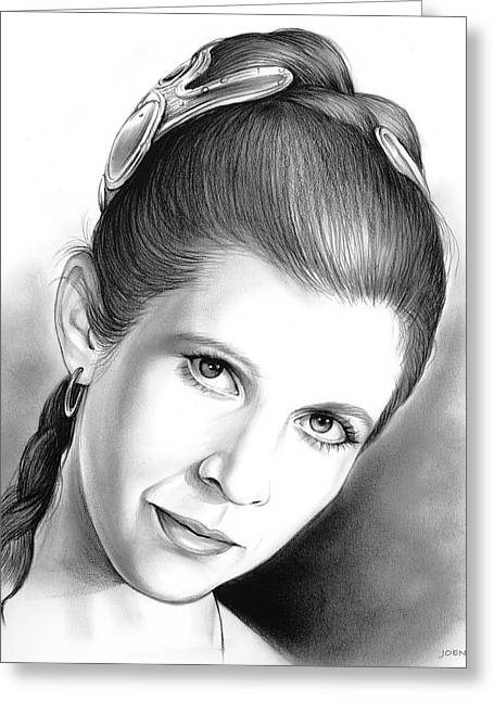 Carrie Fisher Greeting Card by Greg Joens