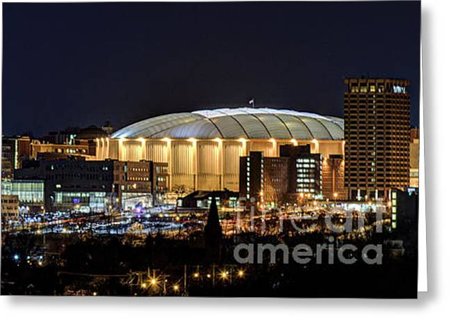 Carrier Dome And Syracuse Skyline Panoramic View Greeting Card