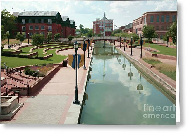 Carroll Creek Park In Frederick Maryland With Watercolor Effect Greeting Card