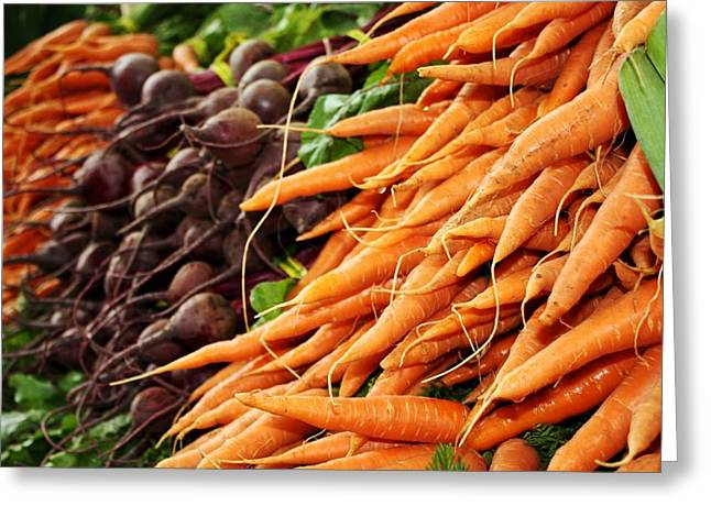 Produce Digital Art Greeting Cards - Carrots and Beets Greeting Card by Cathie Tyler