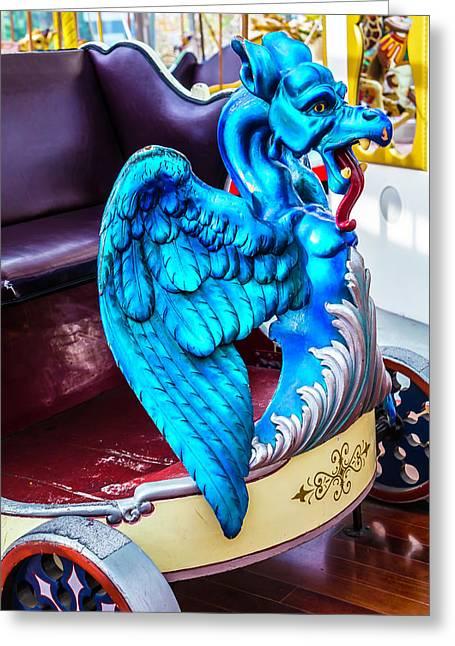 Carrousel Blue Dragon Ride 2 Greeting Card
