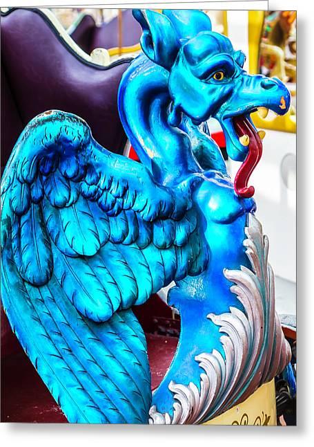 Carrousel Blue Dragon Ride Greeting Card