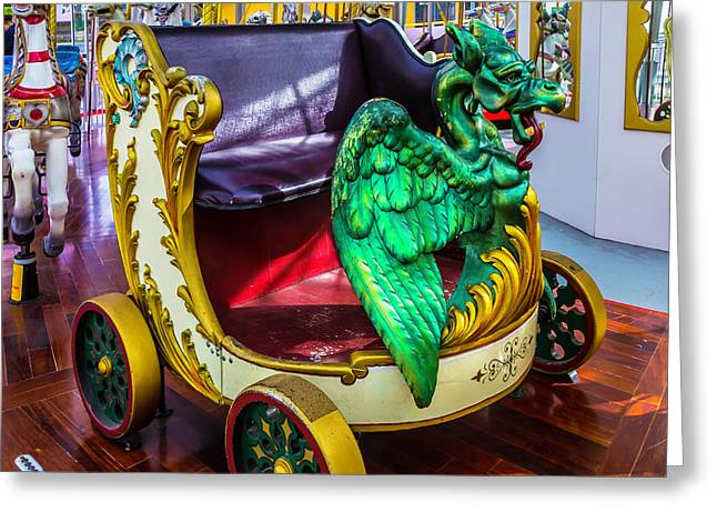 Carrousel Dragon Ride Greeting Card by Garry Gay