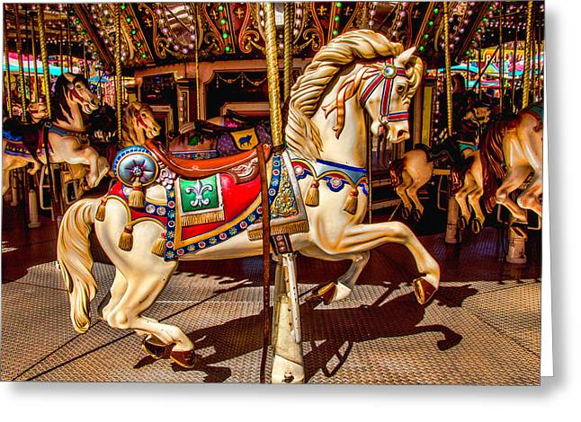 Carrousel Horse Ride Greeting Card by Garry Gay