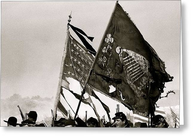 Carrying Their Colors - Bw Greeting Card by Linda Allasia