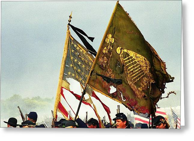 Carrying Their Colors Greeting Card by Linda Allasia