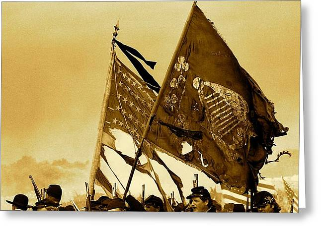Carrying Their Colors - Sepia Greeting Card by Linda Allasia