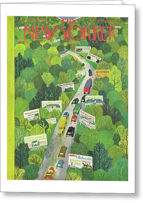 Cars Drive Down A Forest Highway Overrun With Billboards Greeting Card
