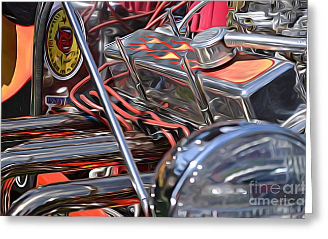Cars - Hod Rod Engine And Wires Close Up Greeting Card by Jason Freedman