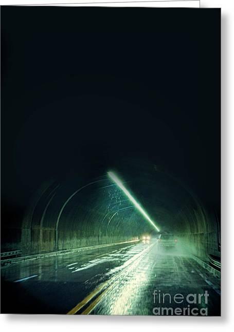 Cars In A Dark Tunnel Greeting Card by Jill Battaglia