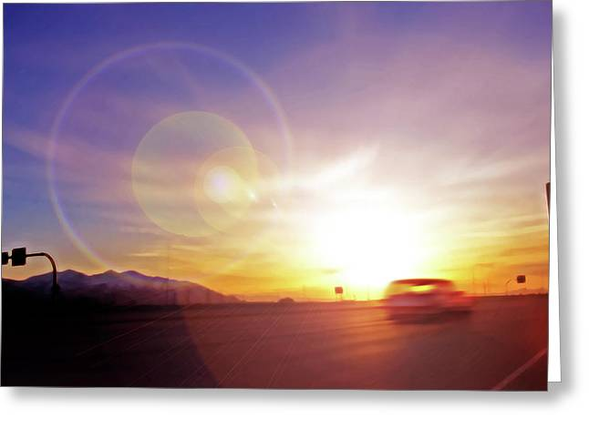 Cars On Freeway 4 - Evening Commute Greeting Card by Steve Ohlsen