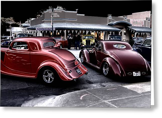 Cars On The Strip Greeting Card
