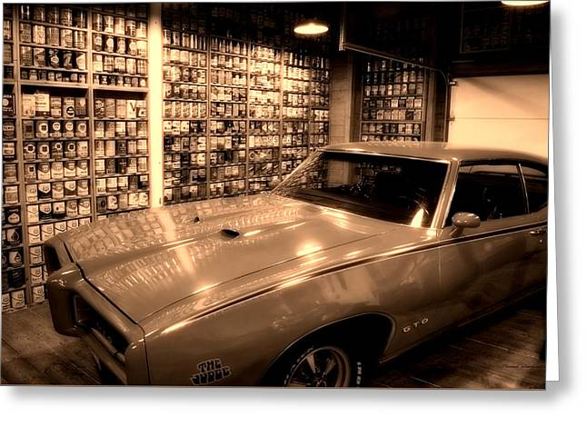 Cars Pontiac Gto The Judge Sepia Greeting Card by Thomas Woolworth