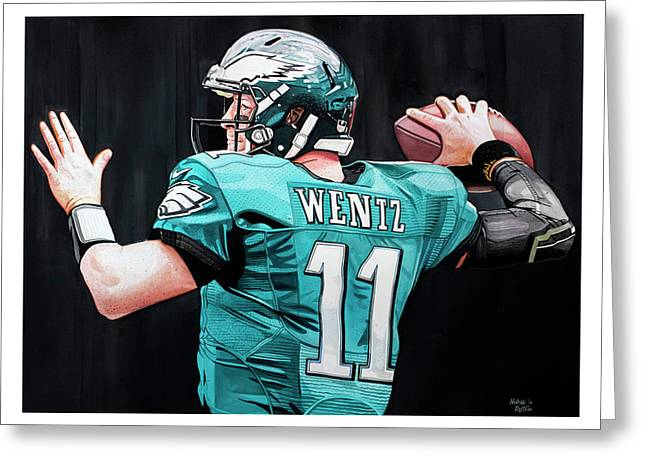 Carson Wentz Greeting Card by Michael Pattison