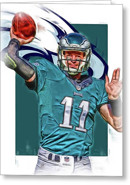 Carson Wentz Philadelphia Eagles Oil Art 2 Greeting Card by Joe Hamilton