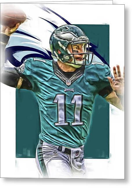 Carson Wentz Philadelphia Eagles Oil Art Greeting Card by Joe Hamilton