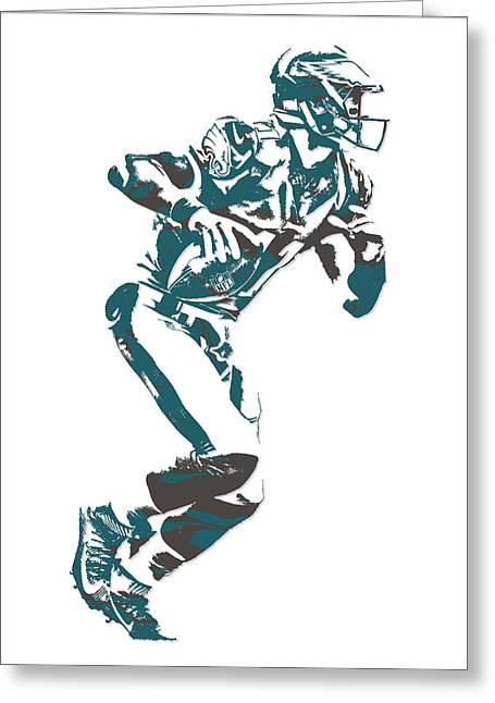 Carson Wentz Philadelphia Eagles Pixel Art 8 Greeting Card