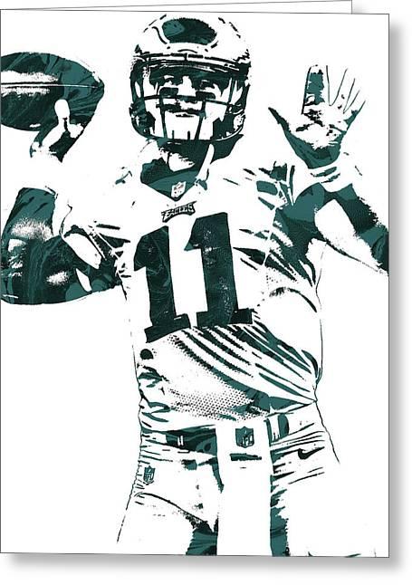Carson Wentz Philadelphia Eagles Pixel Art Greeting Card by Joe Hamilton