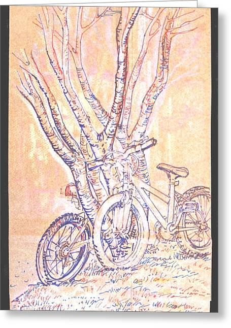 Cart Herder Bikes Greeting Card by Radical Reconstruction Fine Art Featuring Nancy Wood