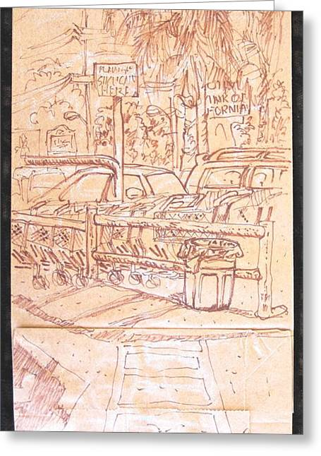 Cart Station Greeting Card by Radical Reconstruction Fine Art Featuring Nancy Wood