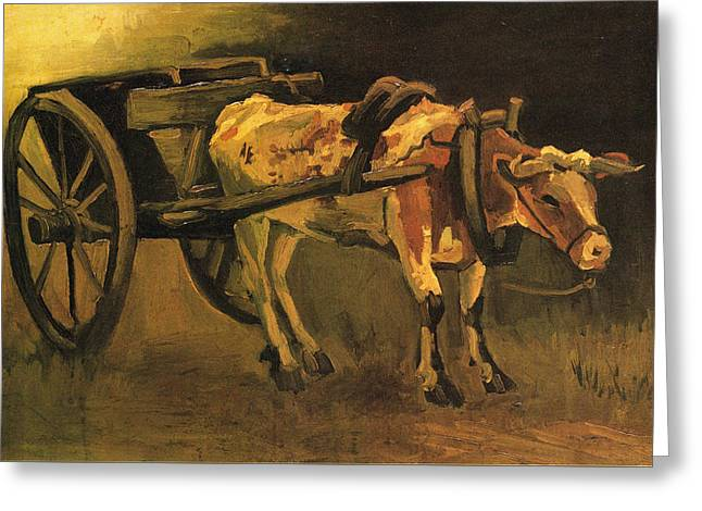 Cart With Red And White Ox, 1884 Greeting Card by Vincent Van Gogh