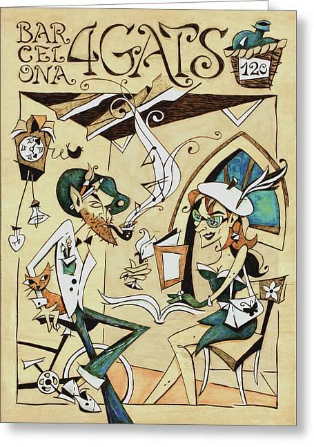 Cartell 120 Aniversari Restaurant Els Quatre Gats Barcelona Greeting Card by Arte Venezia