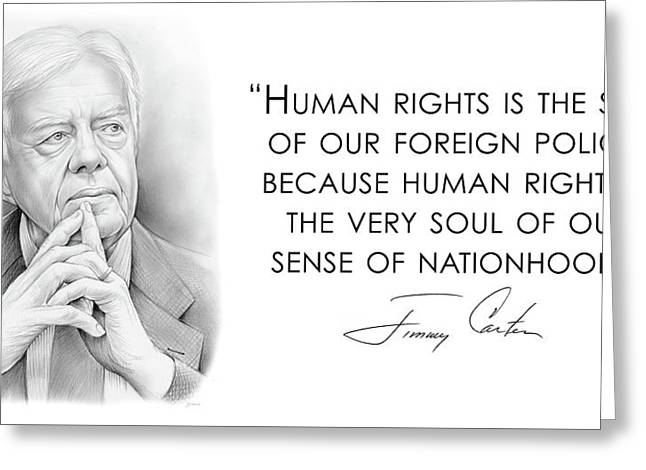 Carter On Human Rights Greeting Card by Greg Joens