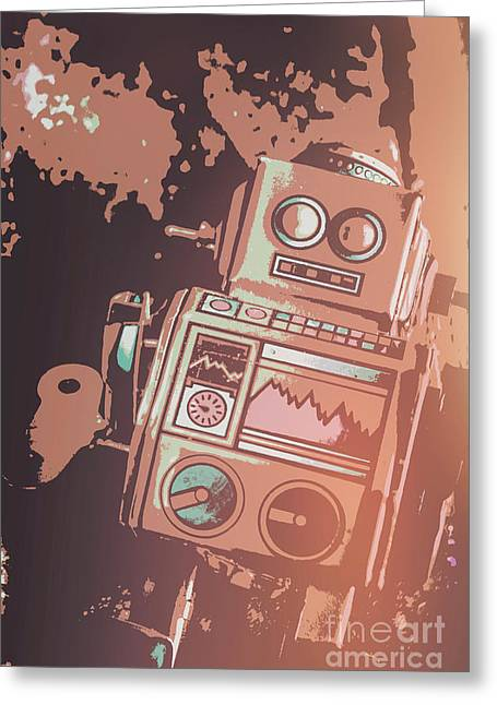 Cartoon Cyborg Robot Greeting Card by Jorgo Photography - Wall Art Gallery