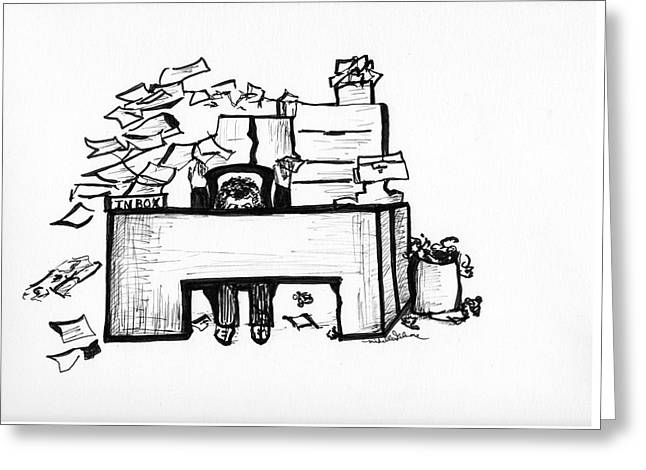 Cartoon Desk Greeting Card