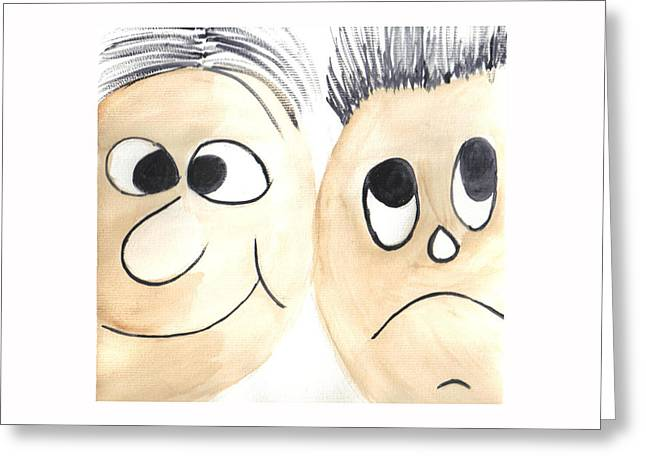 Cartoon Faces Greeting Card by Hema Rana