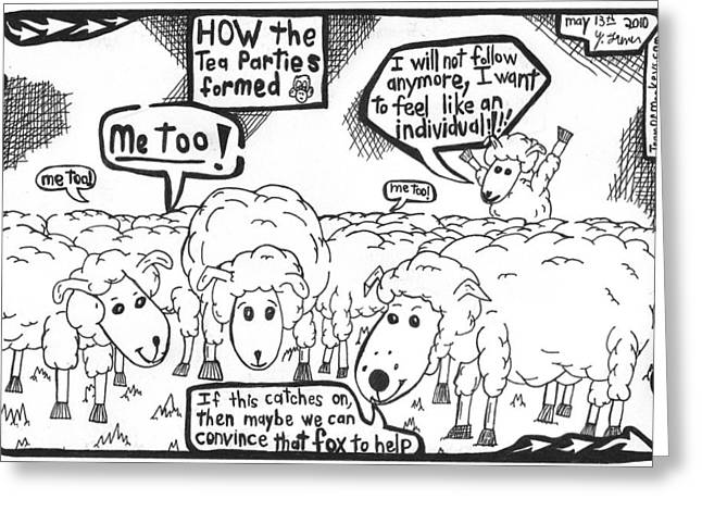 Cartoon Maze On How The Tea Parties Formed By Yonatan Frimer Greeting Card by Yonatan Frimer Maze Artist