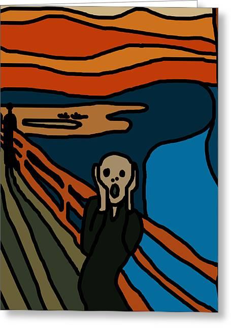 The Scream Greeting Cards - Cartoon Scream Greeting Card by Jera Sky