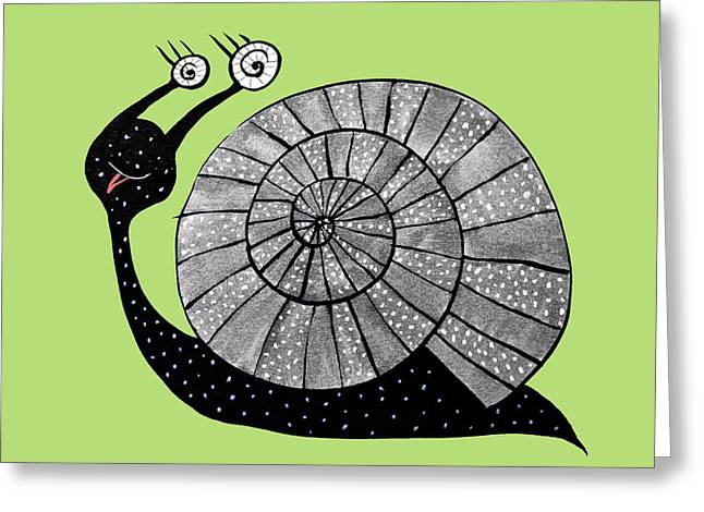 Cartoon Snail With Spiral Eyes Greeting Card