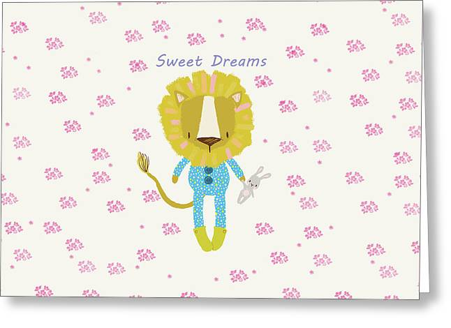 Cartoon Sweet Dreams Lion Greeting Card
