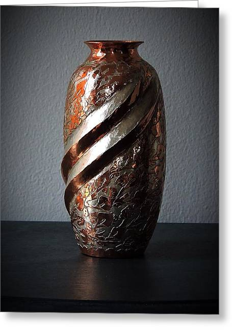Carved Copper Vase Greeting Card by Peg Donnellan
