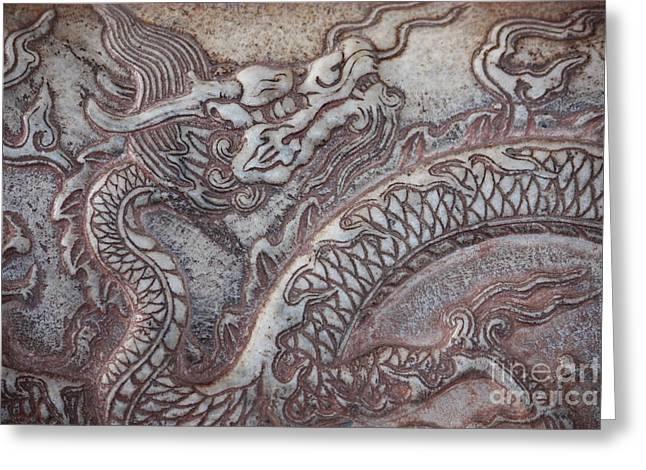 Carved Dragon Greeting Card by Carol Groenen