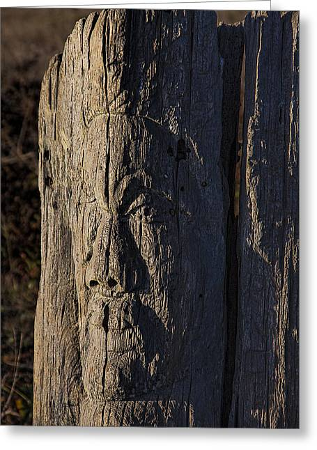 Carved Fence Post Greeting Card by Garry Gay
