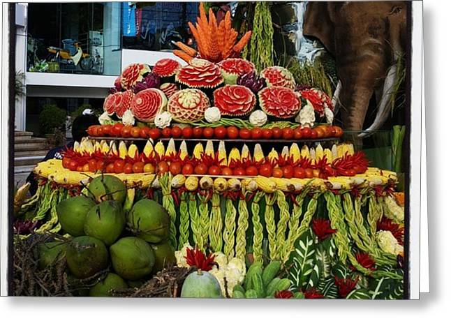 Greeting Card featuring the photograph Carved Watermelon, Surin Elephant by Mr Photojimsf