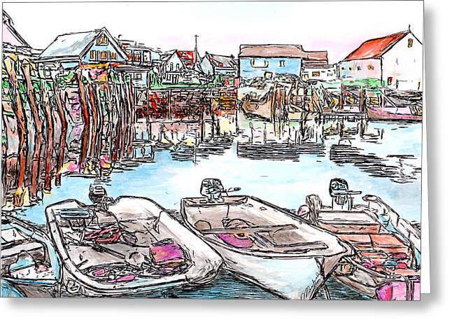 Carvers Harbour With Boats , Vinal Haven,  Maine Greeting Card