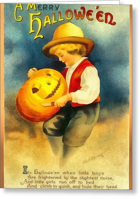 Carving A Pumpkin Greeting Card by Ellon Clapsaddle