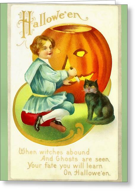 Carving A Pumpkin With Your Cat Greeting Card by Unknown