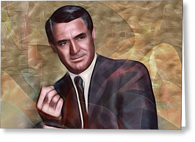 Cary Grant - Square Version Greeting Card by John Robert Beck