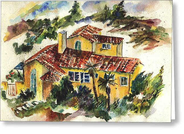 Casa Amarillo Greeting Card by Lily Hymen