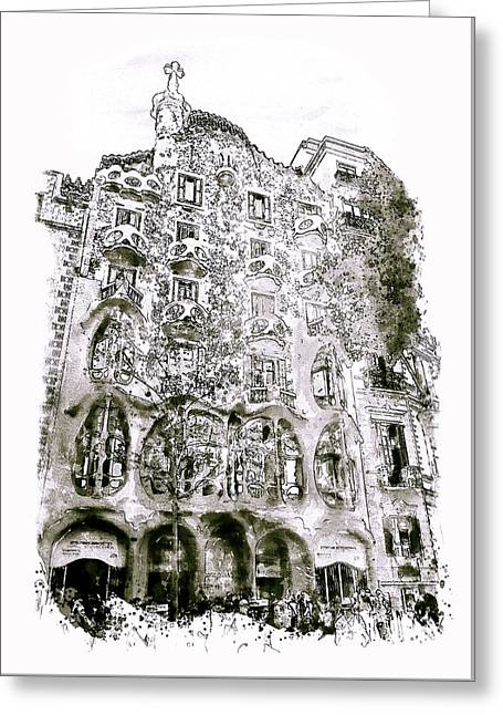 Casa Batllo Barcelona Black And White Greeting Card