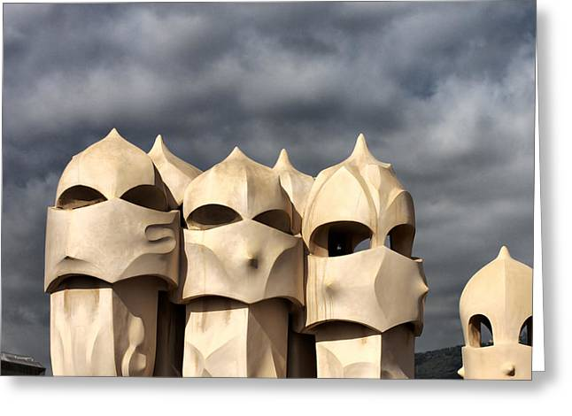Casa Mila Masks Greeting Card