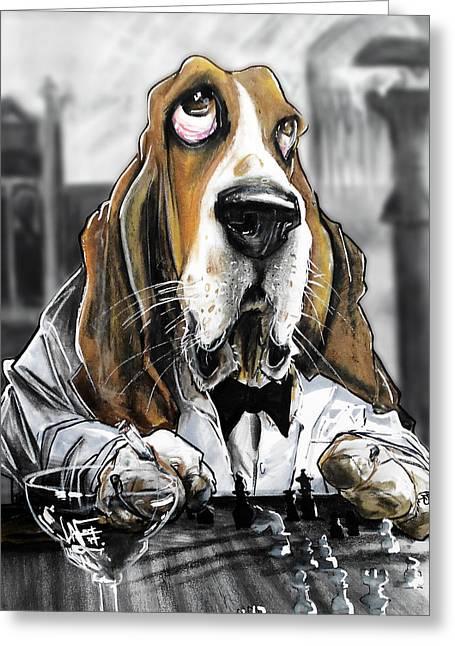 Casablanca Basset Hound Caricature Art Print Greeting Card