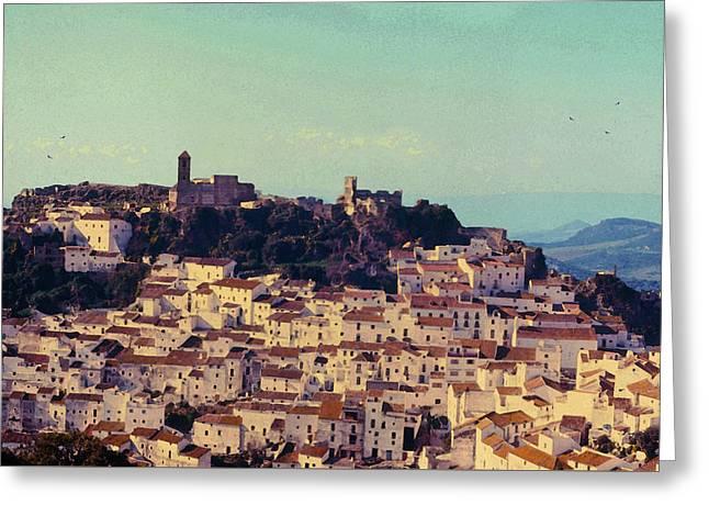 Casares Espana In Golden Light Circa 1972 Greeting Card by Robert J Sadler